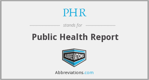 PHR - Public Health Report