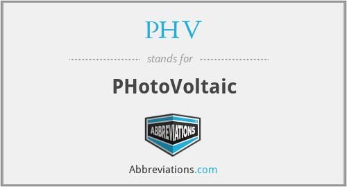 PHV - PHotoVoltaic