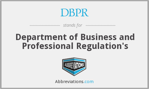 What does DBPR stand for?