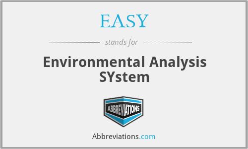 EASY - Environmental Analysis SYstem
