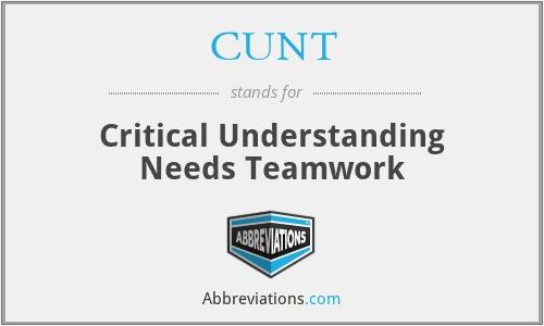 CUNT - Critical Understanding Needs Teamwork