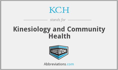 KCH - Kinesiology and Community Health