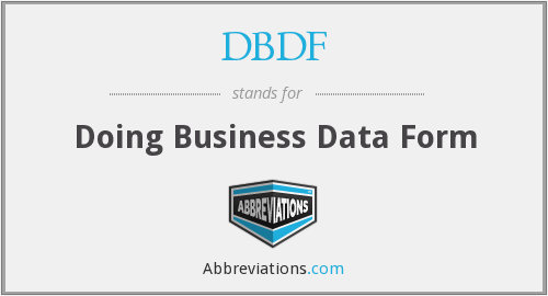 what is the abbreviation for doing business data form?