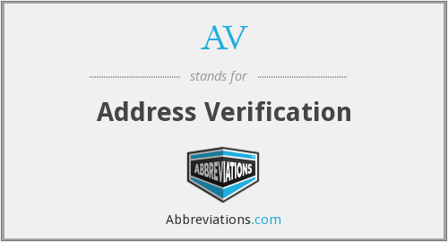 AV - Address Verification