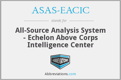 ASAS-EACIC - All-Source Analysis System - Echelon Above Corps Intelligence Center