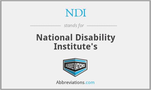NDI - National Disability Institute's