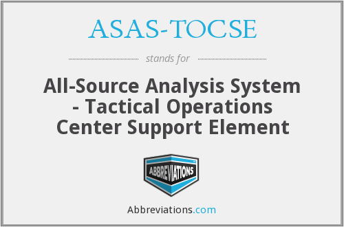 ASAS-TOCSE - All-Source Analysis System - Tactical Operations Center Support Element