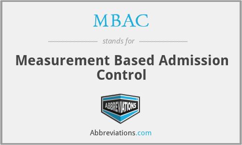 MBAC - Measurement Based Admission Control