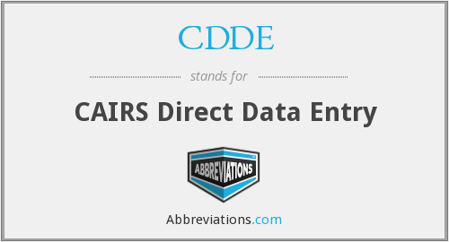 CDDE - CAIRS Direct Data Entry