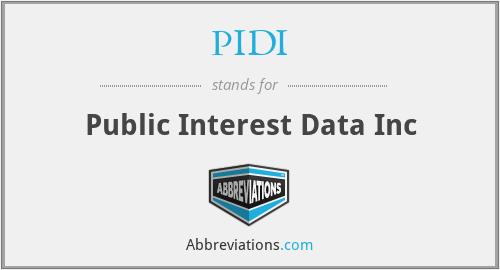 PIDI - Public Interest Data Inc