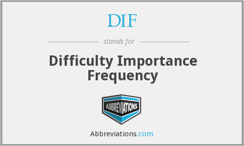 DIF - Difficulty Importance Frequency