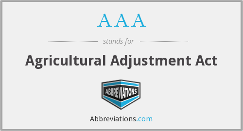AAA - Agricultural Adjustment Act