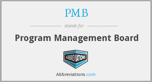 PMB - Program Management Board
