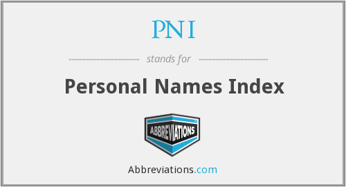 PNI - Personal Names Index