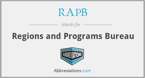 RAPB - Regions and Programs Bureau
