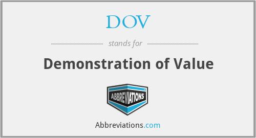 DOV - Demonstration of Value
