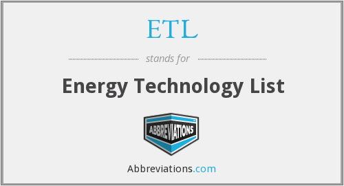ETL - Energy Technology List