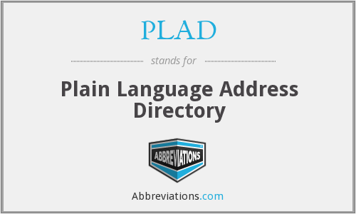 PLAD - Plain Language Address Directory