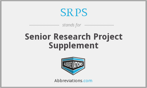 SRPS - Senior Research Project Supplement