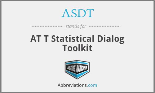 ASDT - AT T Statistical Dialog Toolkit