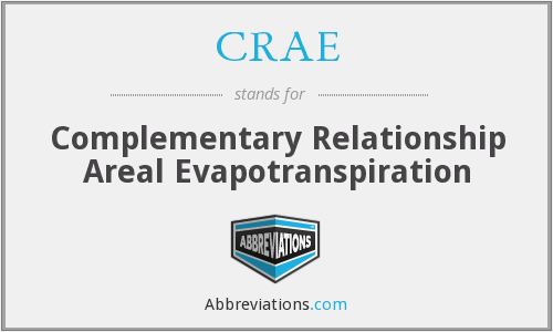 CRAE - Complementary Relationship Areal Evapotranspiration