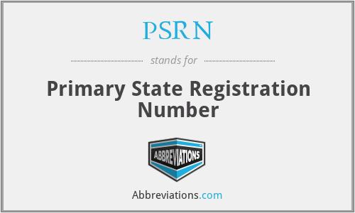 PSRN - Primary State Registration Number