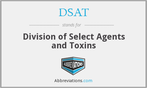 DSAT - Division of Select Agents and Toxins