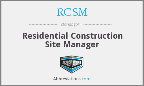 RCSM - Residential Construction Site Manager
