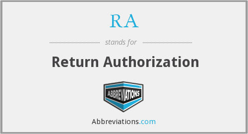 RA - Return Authorization