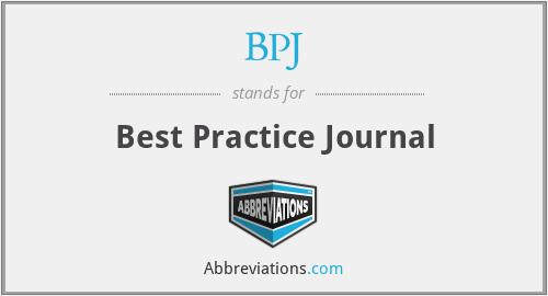 BPJ - Best Practice Journal