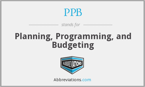PPB - Planning, Programming, and Budgeting