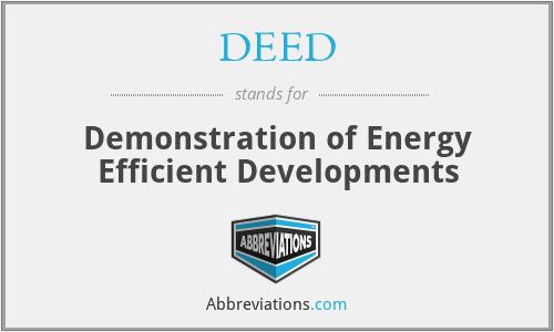 DEED - Demonstration Of Energy Efficient Developments