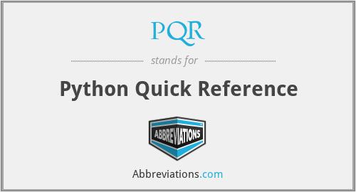 PQR - Python Quick Reference