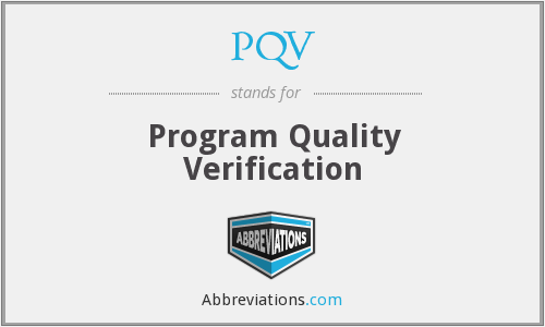 PQV - Program Quality Verification