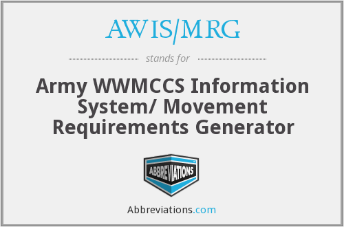 AWIS/MRG - Army WWMCCS Information System/ Movement Requirements Generator