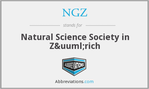 NGZ - Natural Science Society in Zürich