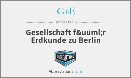 GfE - Gesellschaft für Erdkunde zu Berlin