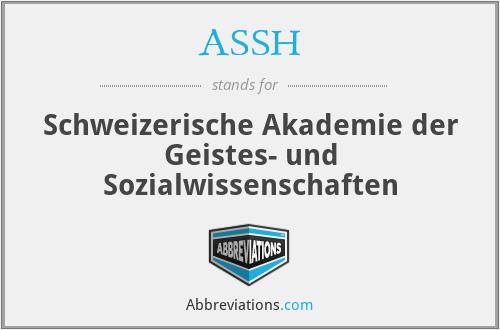 ASSH - Schweizerische Akademie der Geistes- und Sozialwissenschaften