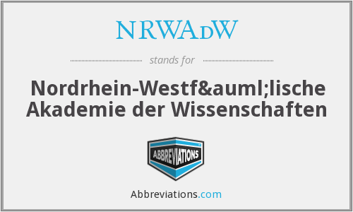 What does NRWADW stand for?