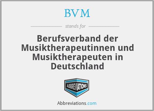 BVM - Berufsverband der Musiktherapeutinnen und Musiktherapeuten in Deutschland