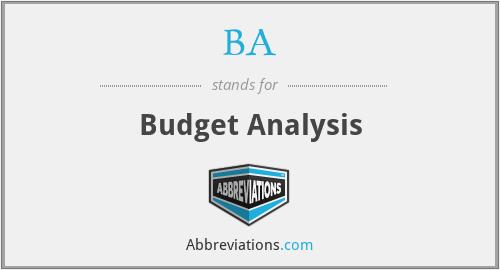 BA - Budget Analysis