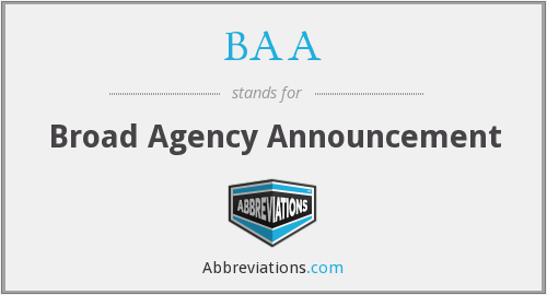BAA - Broad Agency Announcement