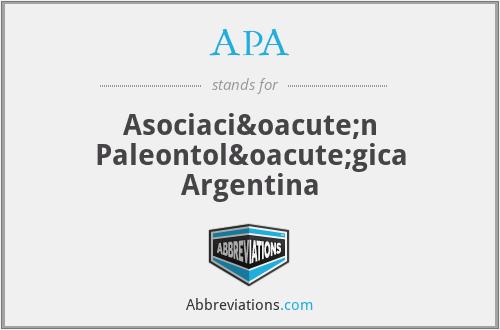 APA - Asociación Paleontológica Argentina