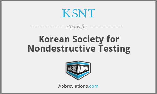 KSNT - Korean Society for Nondestructive Testing