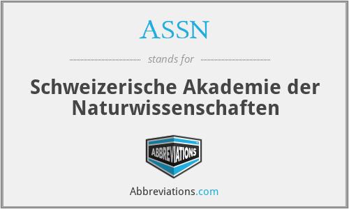 ASSN - Schweizerische Akademie der Naturwissenschaften