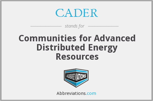 What does CADER stand for?