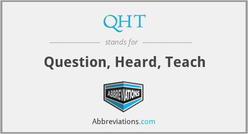 QHT - Question, Heard, Teach