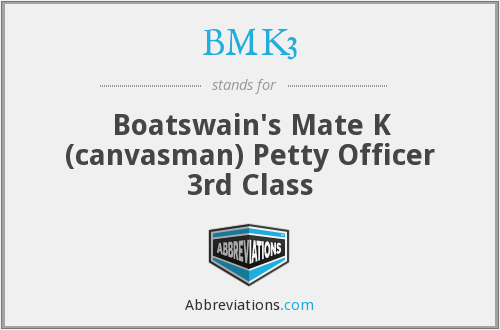 BMK3 - Boatswain's Mate K (canvasman) Petty Officer 3rd Class