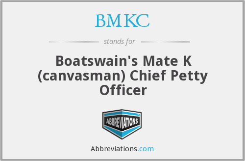 BMKC - Boatswain's Mate K (canvasman) Chief Petty Officer