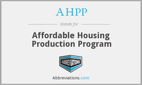 AHPP - Affordable Housing Production Program